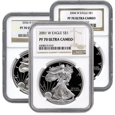 2008-W Proof American Silver Eagles in NGC PF 70