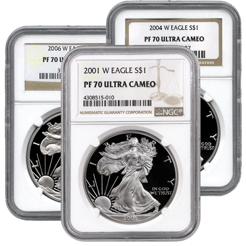 2001-W to 2008-W Proof American Silver Eagles in NGC PF 70
