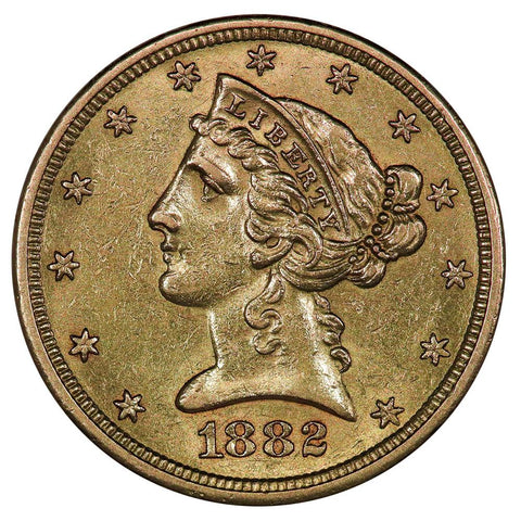 1882-S $5 Liberty Head Gold Coin - Choice About Uncirculated