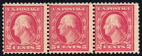 Scott #505 1917 Washington 5¢ Rose Error - In Strip of 3 - Fine, N.H.