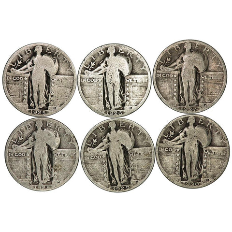 Six Different Standing Liberty Quarters in Very Good or Better Deal