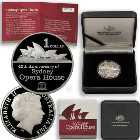 2013 Sydney Opera House 40th Anniversary Silver Proof Coin - Gem Proof in OGP