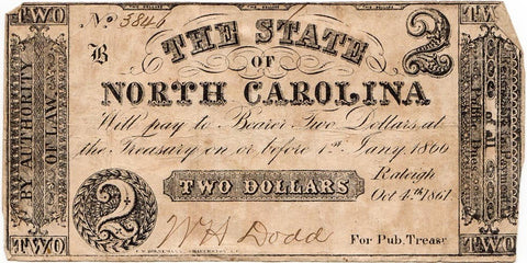 1861 $2 State of North Carolina Raleigh October 4 - Very Good/Fine