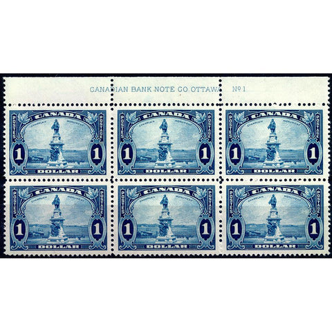 Canada 1936 $1 Chaplain Statue Scott #227 Plate Block of 6 - Mint NH OG XF