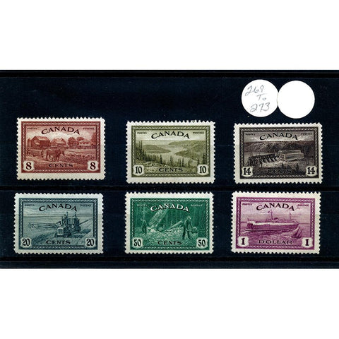 Canada 1946 Scott #268-273 Peace Set Stamps - Mint OG NH VF