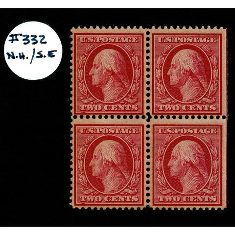 Scott #332 1908 2¢ George Washington Block of Four - Mint NH OG VF