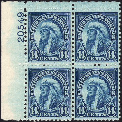 Scott #565 14¢ American Indian Block of Four - Mint OG N.H. VF