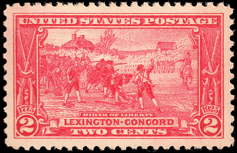 Scott #618 1925 Lexington-Concord 2¢ Carmine - OG N.H. VF