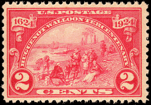 Scott #615 1924 Huguenot-Walloon 2¢ Dark Carmine - OG N.H. VF