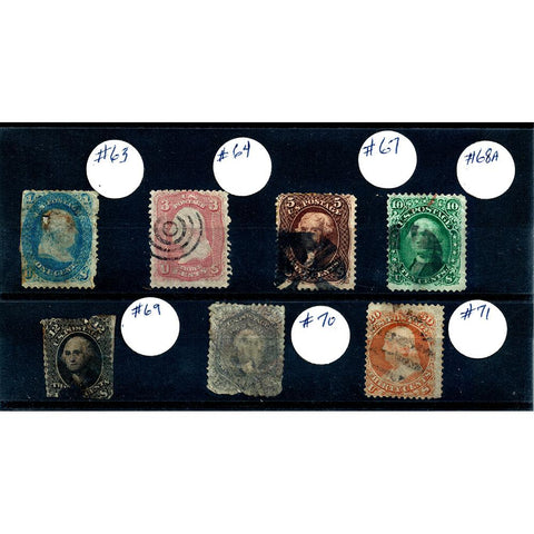 Stamps of 1861 - Scott #63, #64, #67, #68A, #69, #70, #71 - Used