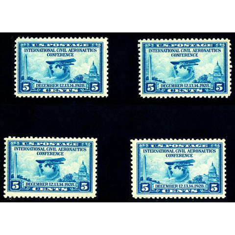 Set of Four 1928 5¢ Civil Aeronautics Scott #650 - Mint NH OG VF