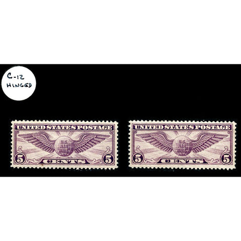 Pair of 1930 Scott #C-12 Winged Globe Air Mail Stamps - Mint OG LH XF & VF