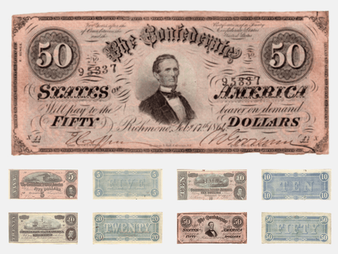 1864 $5 • $10 • $20 • $50 Confederate States Note Deal - VF/XF to AU/Unc