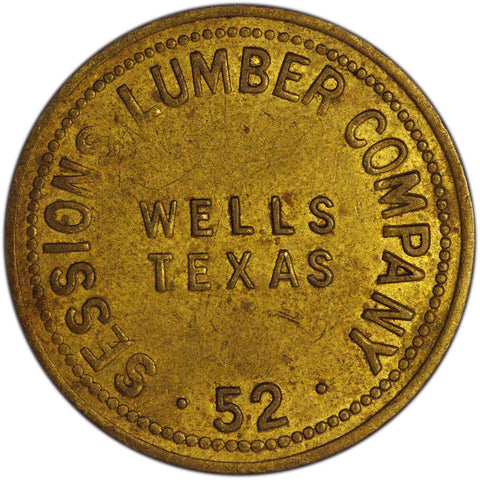 Wells Texas Sessions Lumber Company 25 Cent Trade Token