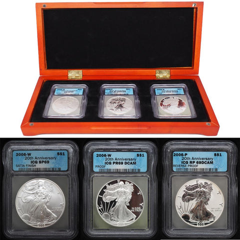 Certified 2006 American Eagle 20th Anniversary Silver Coin Set
