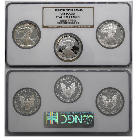1989-1991 Proof Silver Eagle Set - NGC PF 69 Ultra Cameo