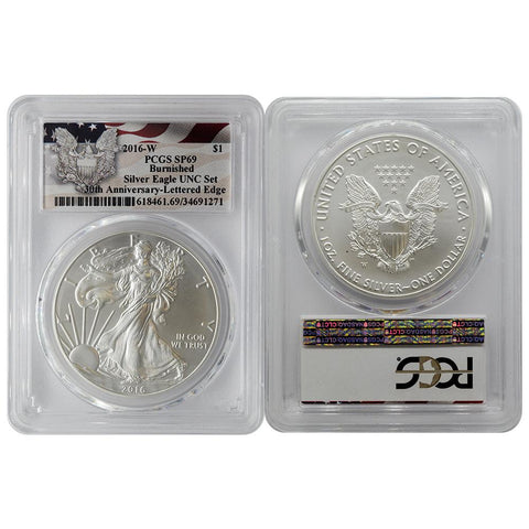 2016-W Burnished Silver Eagle 30th Anniversary PCGS - SP69
