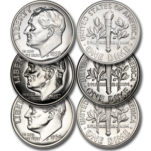 Six Different (1955-1964) Proof Silver Roosevelt Dimes Deal - Gem Proof