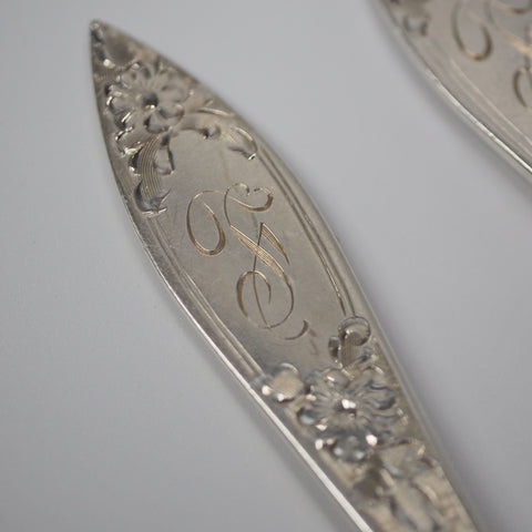 Pair of Stieff Lady Claire Sterling Silver Ice Cream Forks