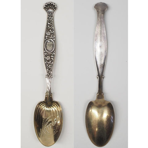 Whiting Sterling Silver Hartford Gold Washed Souvenir Spoon