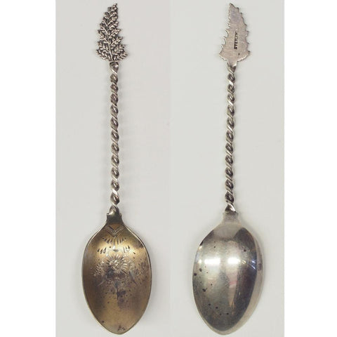Vintage Leaf & Twisted Handle Sterling Silver Spoon