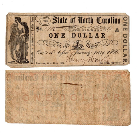 1861 $1 State of North Carolina Raleigh October 17 - F/VF