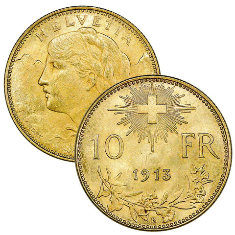 (1911-1922) Swiss Helvetia Gold 10 Francs by Date - Brilliant Uncirculated