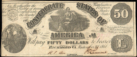 T-14 Sept. 2 1861 $50 Confederate States of America (C.S.A.) PF-3/Cr.64 - XF/AU
