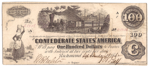 T-40 Sept. 18 1862 $100 Confederate States of America (C.S.A.) PF-4/Unl ~ AU/Uncirculated