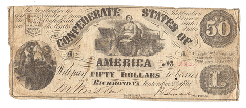 T-14 Sept. 2 1861 $50 Confederate States of America (C.S.A.) PF-6/Cr.75 - Very Good Cut Canceled