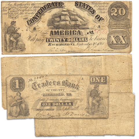 T-18 1861 $20 C.S.A. Note (PF-7/Cr. 107) - Includes 1861 $1 Traders Bank Richmond, VA - Fine