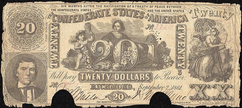 T-20 Sept 2 1861 $20 Confederate States of America (C.S.A.) PF-1/Cr.139 - Good/Very Good
