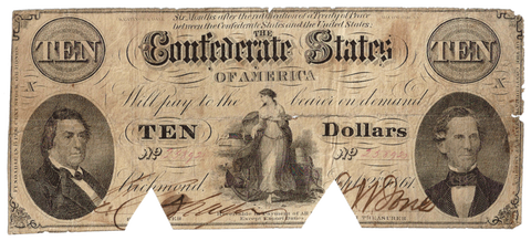 T-25 Sept. 2 1861 $10 Confederate States of America (C.S.A.) PF-1/Cr.168 - Net VG/F COC