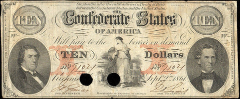 T-26 Sept. 2 1861 $10 Confederate States of America (C.S.A.) PF-21/Cr.191 - Fine/Very Fine POC