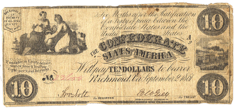 T-28 Sept. 2 1861 $10 Confederate States of America (C.S.A.) PF-2/Cr.231 ~ Fine