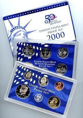 2000-S Statehood 10 Coin Clad Proof Set, In Original Mint Box with COA
