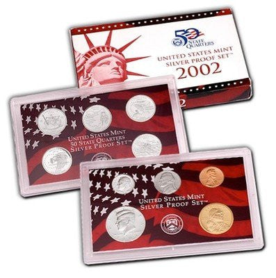 2002-S Statehood 10 Coin Silver Proof Set, In Original Mint Box with COA