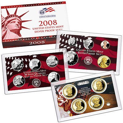 2008-S Statehood 14 Coin Silver Proof Set, In Original Mint Box with COA