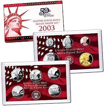 2003-S Statehood 10 Coin Silver Proof Set, In Original Mint Box with COA