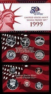 1999-S Statehood Silver 9 Coin Proof Set, In Original Mint Box with COA