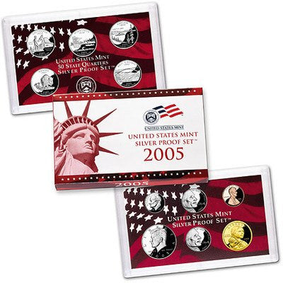 2005-S Statehood 11 Coin Silver Proof Set, In Original Mint Box with COA