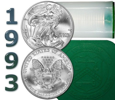 1993 American Silver Eagle Mint Original Mint Roll of 20 - Now Only 3 Rolls Available at This Pricing