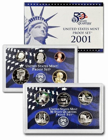 2001-S Statehood Clad 10 Coin Proof Set, In Original Mint Box with COA