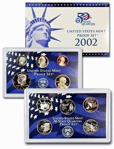 2002-S Statehood 10 Coin Clad Proof Set, In Original Mint Box with COA