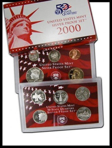 2000-S Statehood Silver 10 Coin Proof Set, In Original Box with COA