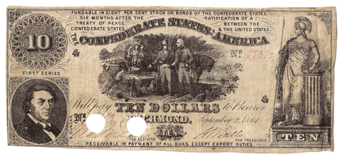 T-30 Sept. 2 1861 $10 Confederate States of America (C.S.A.) PF-1/Cr.238 ~ Fine/Very Fine POC