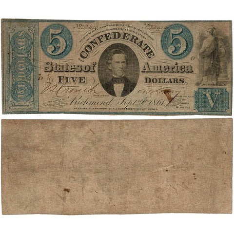T-33 Sep. 2 1861 $5 Confederate States of America (C.S.A.) - Very Good (XCC)