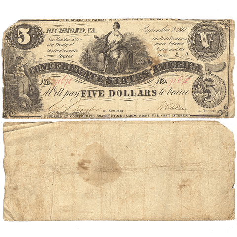 T-36 Sept 2 1861 $5 Confederate States of America (C.S.A.) PF-2/Cr.274 - Very Good