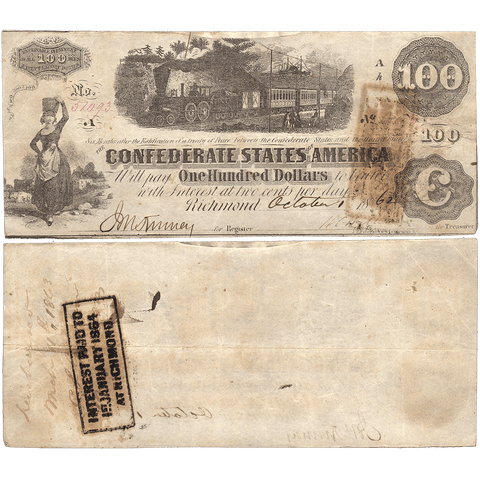 T-40 Oct. 1 1862 $100 Confederate States of America (C.S.A.) PF-1/Cr.298/500 ~ Very Fine