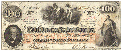 T-41 Sept. 25 1862 $100 Confederate States of America (C.S.A.) PF-11/Cr.319 ~ Crisp Uncirculated